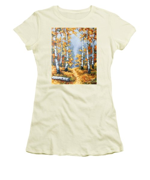 Birch Forest Path Women's T-Shirt (Athletic Fit)