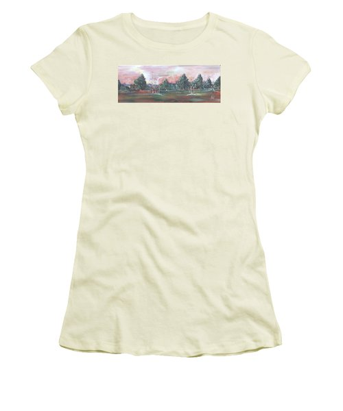 Women's T-Shirt (Junior Cut) featuring the painting Birch Grove by Pat Purdy