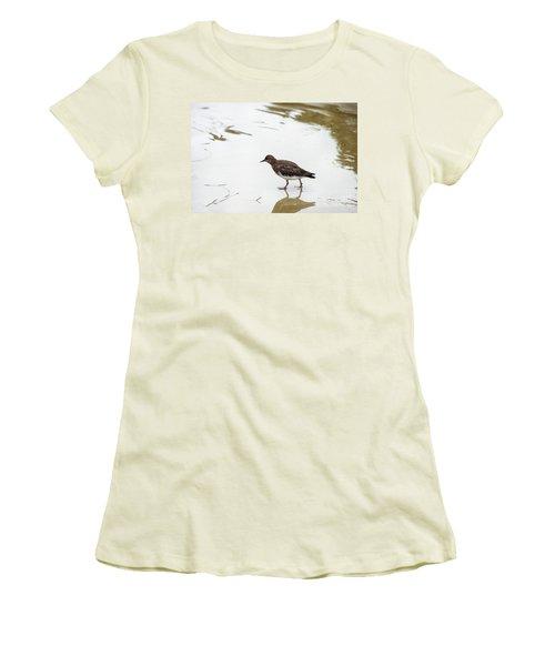 Women's T-Shirt (Junior Cut) featuring the photograph Bird Walking On Beach by Mariola Bitner