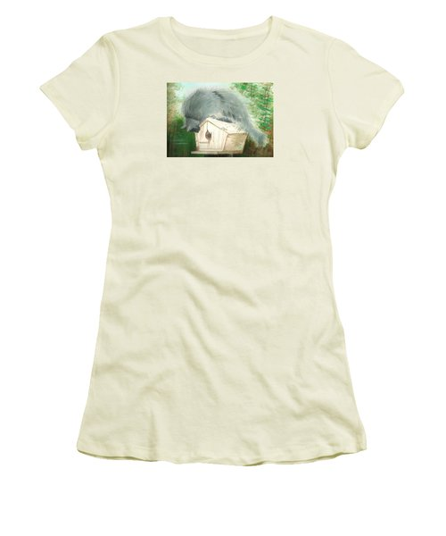 Women's T-Shirt (Junior Cut) featuring the painting Birdie In The Hole by Denise Fulmer