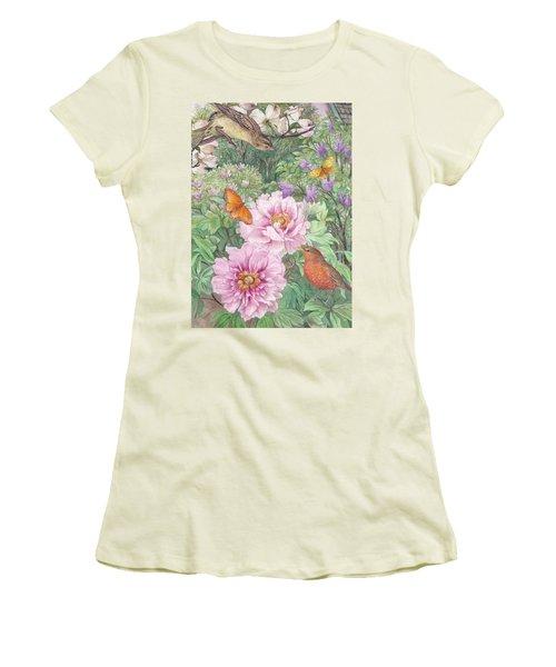 Birds Peony Garden Illustration Women's T-Shirt (Junior Cut) by Judith Cheng