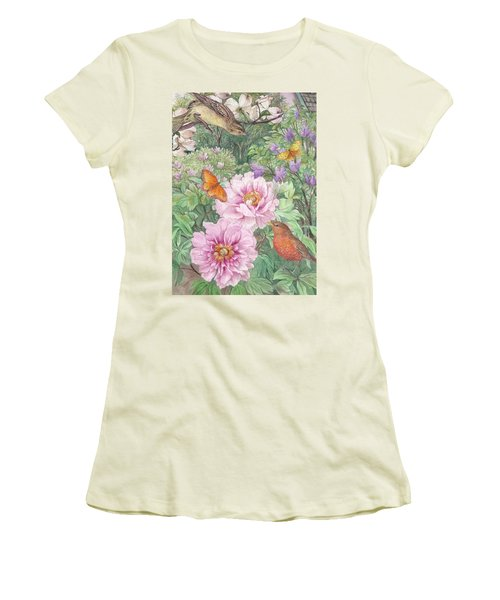 Women's T-Shirt (Athletic Fit) featuring the painting Birds Peony Garden Illustration by Judith Cheng