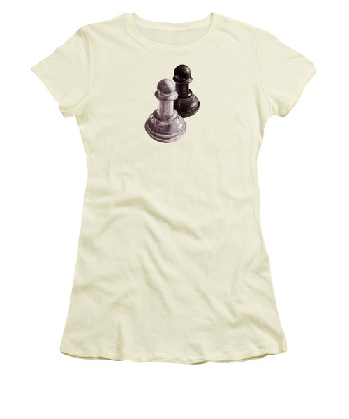 Black And White Chess Pawns Pattern Women's T-Shirt (Athletic Fit)