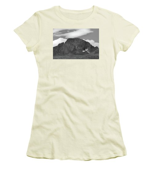 Women's T-Shirt (Junior Cut) featuring the photograph Black And White Longs Peak Detail by Dan Sproul