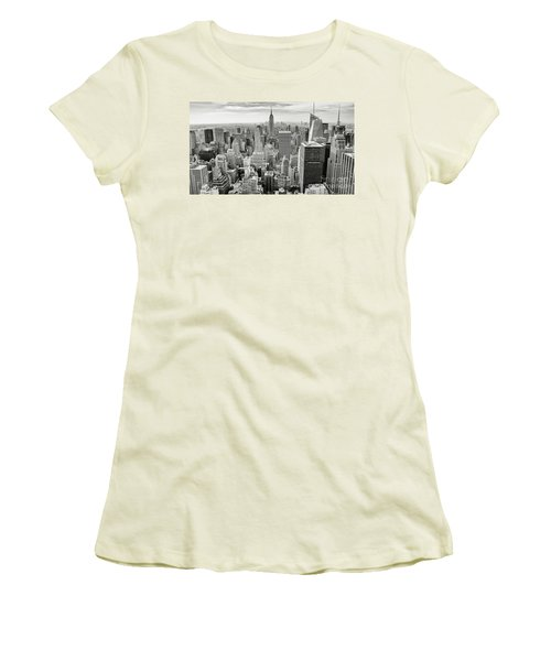 Women's T-Shirt (Junior Cut) featuring the photograph Black And White Skyline by MGL Meiklejohn Graphics Licensing