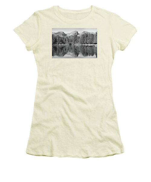Women's T-Shirt (Junior Cut) featuring the photograph Black And White Sprague Lake Reflection by Dan Sproul