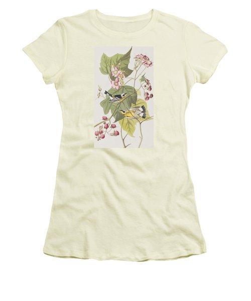 Black And Yellow Warblers Women's T-Shirt (Junior Cut) by John James Audubon