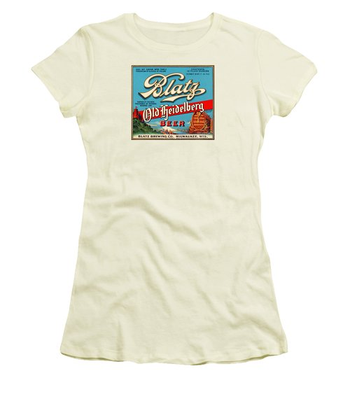 Blatz Old Heidelberg Vintage Beer Label Restored Women's T-Shirt (Junior Cut) by Carsten Reisinger