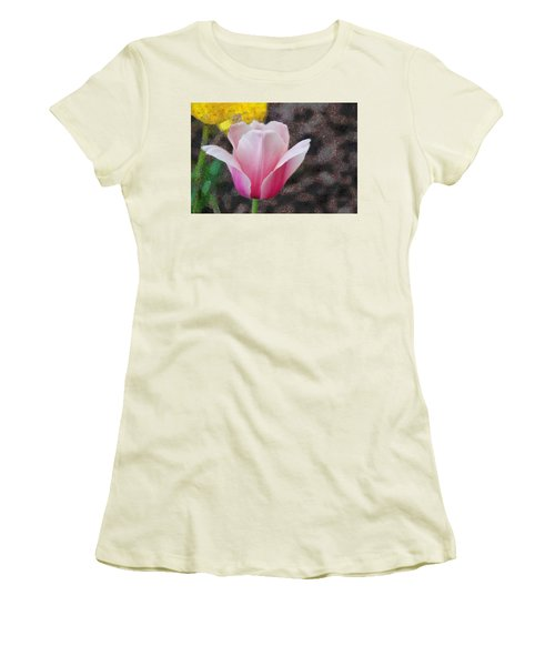 Women's T-Shirt (Junior Cut) featuring the mixed media Bloomin' by Trish Tritz