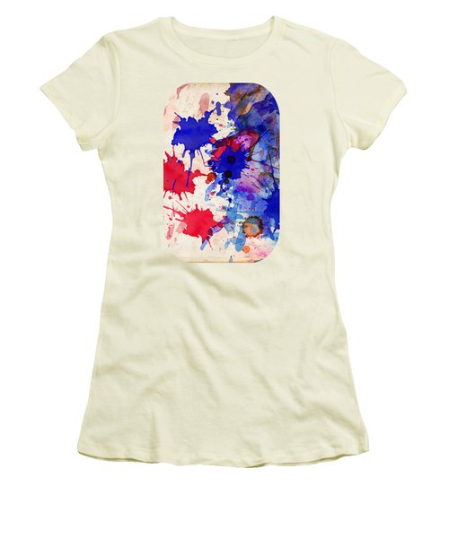 Blue And Red Color Splash Women's T-Shirt (Athletic Fit)