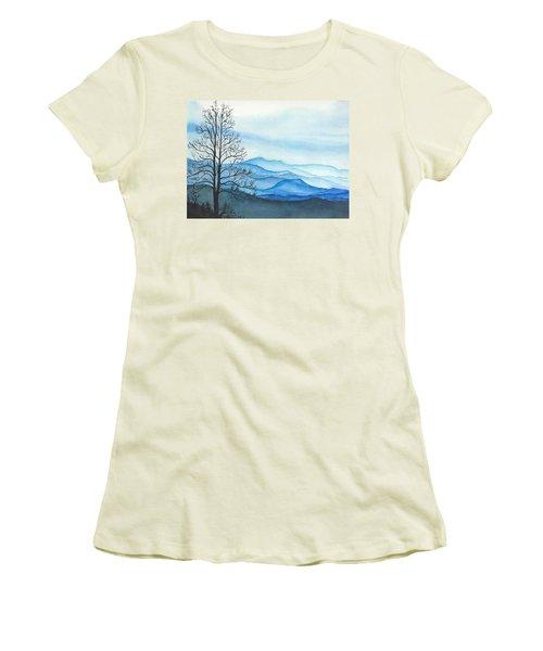 Women's T-Shirt (Junior Cut) featuring the painting Blue Calm by Rachel Hames