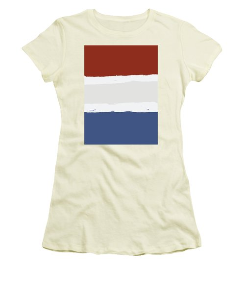 Blue Cream Red Stripes Women's T-Shirt (Athletic Fit)