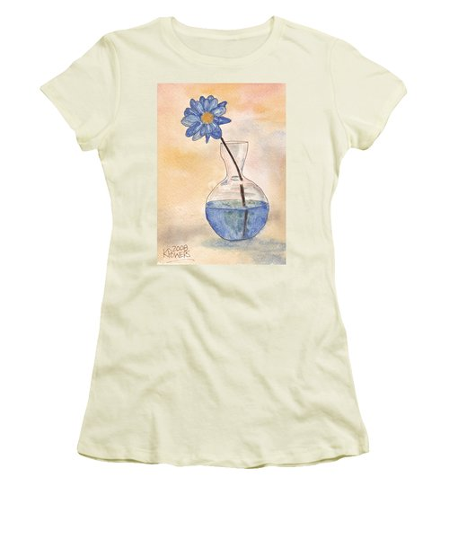 Blue Flower And Glass Vase Sketch Women's T-Shirt (Athletic Fit)