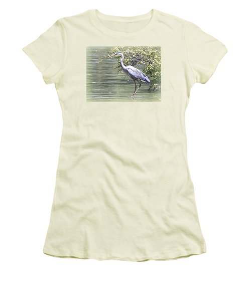 Women's T-Shirt (Junior Cut) featuring the photograph Blue Heron by Clarice  Lakota