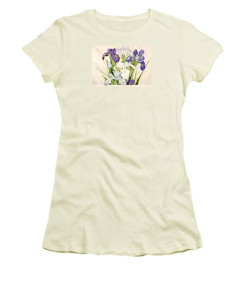 Blue Irises-posthumously Presented Paintings Of Sachi Spohn  Women's T-Shirt (Junior Cut) by Cliff Spohn