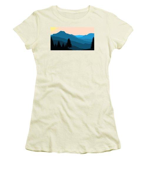 Blue Landscape Women's T-Shirt (Junior Cut) by Thomas M Pikolin
