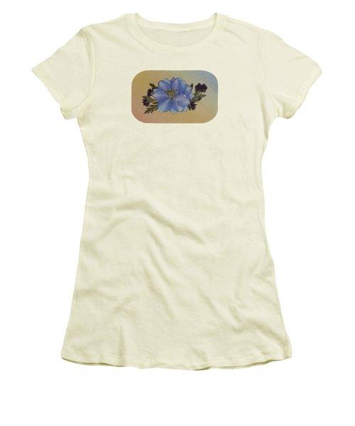 Blue Larkspur And Oregano Pressed Flower Arrangement Women's T-Shirt (Athletic Fit)