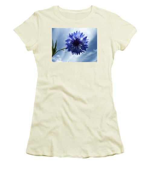 Blue Sky Blue Flower Women's T-Shirt (Junior Cut) by Tina M Wenger