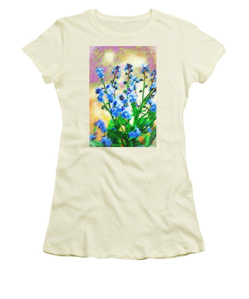 Women's T-Shirt (Junior Cut) featuring the photograph Blue Wildflowers by Donna Bentley