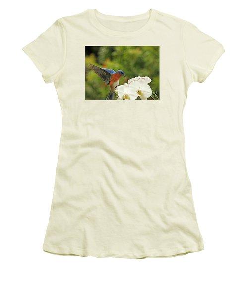 Bluebird Landing On Orchid Women's T-Shirt (Junior Cut) by Luana K Perez