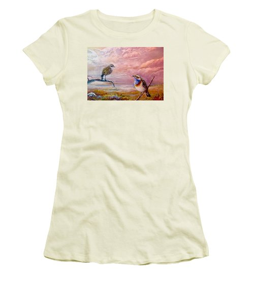 Bluethroat On The Tundra #2 Women's T-Shirt (Athletic Fit)