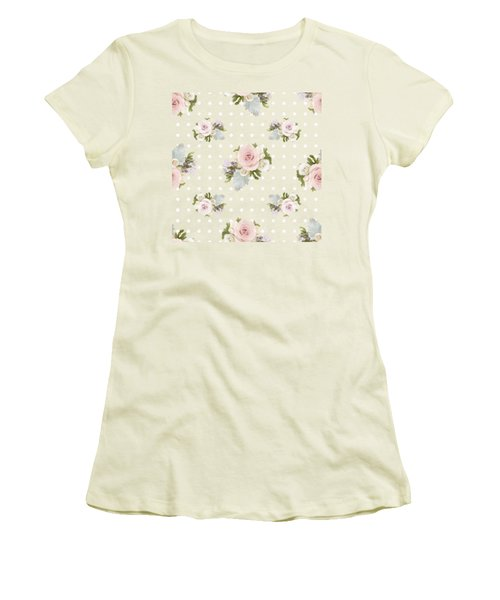 Women's T-Shirt (Junior Cut) featuring the painting Blush Pink Floral Rose Cluster W Dot Bedding Home Decor Art by Audrey Jeanne Roberts