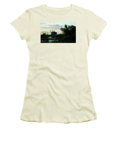 Women's T-Shirt (Junior Cut) featuring the photograph Boat House by Cynthia Powell