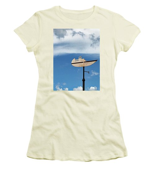 Boat In The Clouds Women's T-Shirt (Junior Cut) by Sandy Taylor