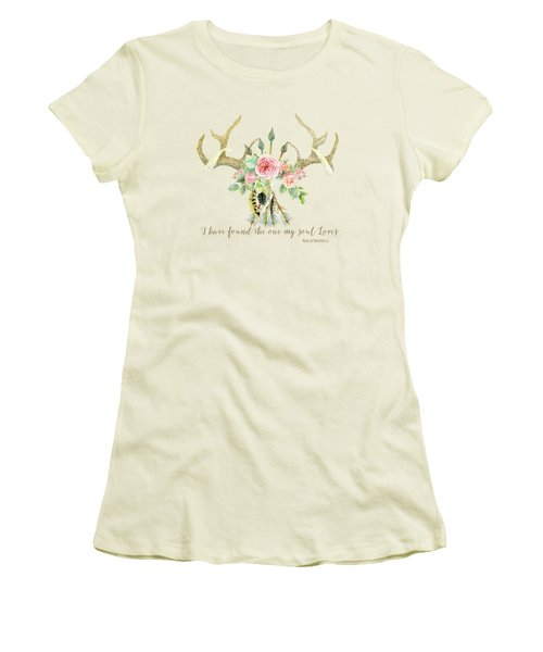 Women's T-Shirt (Junior Cut) featuring the painting Boho Love - Deer Antlers Floral Inspirational by Audrey Jeanne Roberts