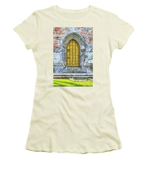 Women's T-Shirt (Junior Cut) featuring the photograph Bok Tower Door by Deborah Benoit