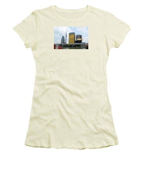 Women's T-Shirt (Junior Cut) featuring the digital art Tokyo Bokutei Dori  by Eva Kaufman