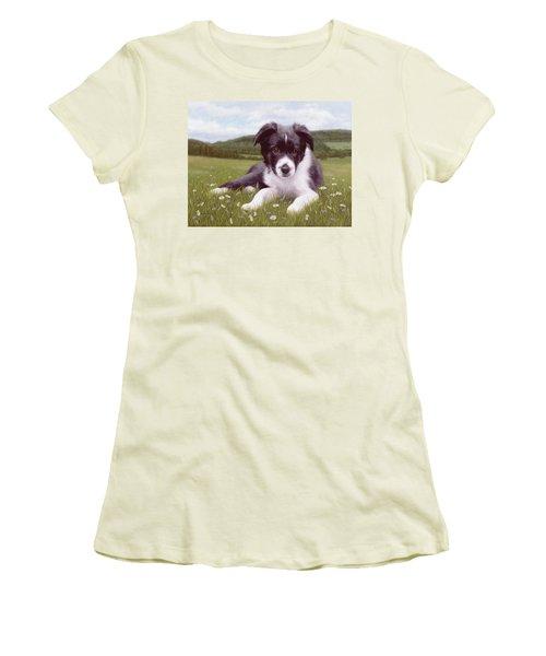 Border Collie Puppy Painting Women's T-Shirt (Junior Cut) by Rachel Stribbling