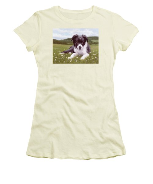 Border Collie Puppy Painting Women's T-Shirt (Athletic Fit)