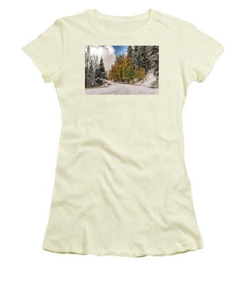 Boreas Pass Road Aspen And Snow Women's T-Shirt (Athletic Fit)