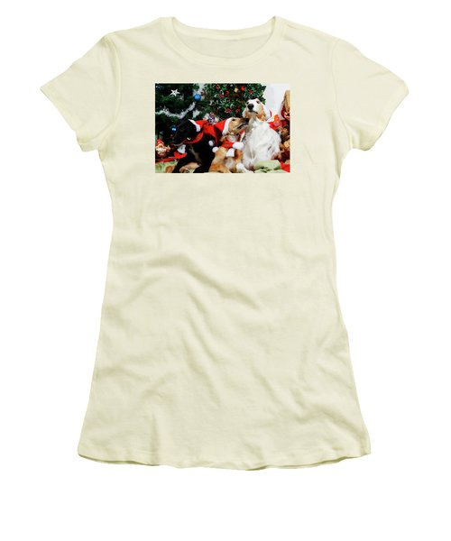 Women's T-Shirt (Junior Cut) featuring the photograph Borzoi Hounds Dressed As Father Christmas by Christian Lagereek