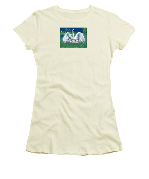 Women's T-Shirt (Junior Cut) featuring the digital art Boston Embraces Her Own by Jean Pacheco Ravinski