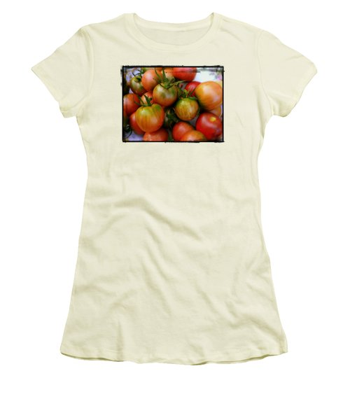 Bowl Of Heirloom Tomatoes Women's T-Shirt (Junior Cut) by Kathy Barney