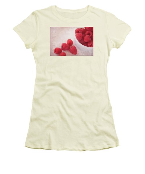 Bowl Of Red Raspberries Women's T-Shirt (Athletic Fit)