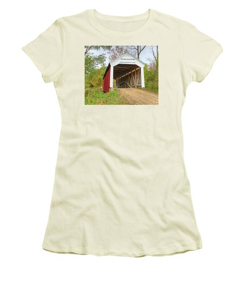 Women's T-Shirt (Junior Cut) featuring the photograph Bowser Ford Covered Bridge by Harold Rau