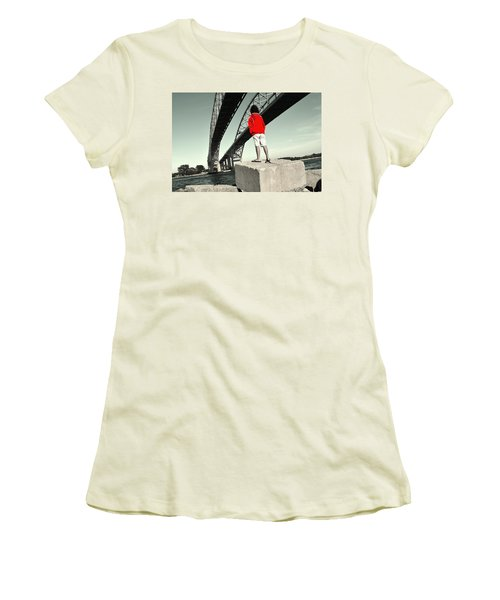 Boy Under Bridge Women's T-Shirt (Athletic Fit)