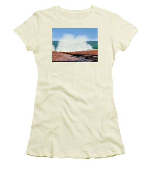 Women's T-Shirt (Junior Cut) featuring the painting Breakers On Georgian Bay by Kenneth M  Kirsch