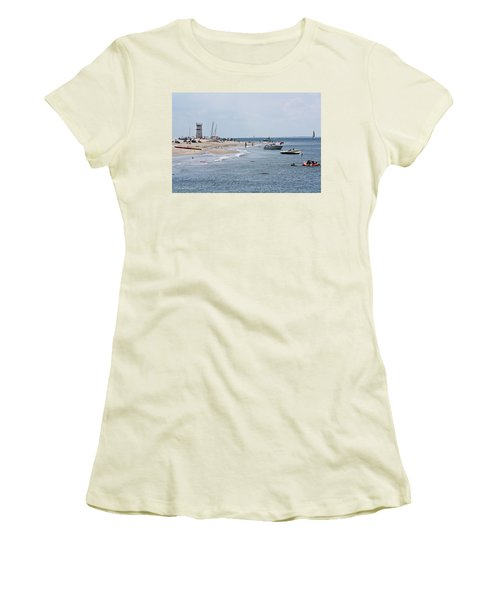 Breezy Point Lighthouse Women's T-Shirt (Junior Cut) by Ann Murphy