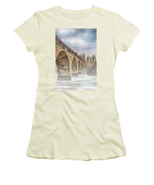 Bridge Over Frozen Water Women's T-Shirt (Athletic Fit)
