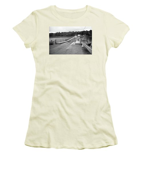 Women's T-Shirt (Junior Cut) featuring the photograph Brookfield, Vt - Floating Bridge 5 Bw by Frank Romeo