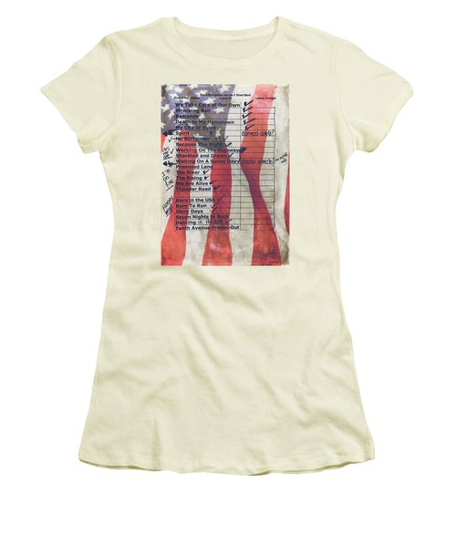Bruce Springsteen Setlist At Rock In Rio Lisboa 2012 Women's T-Shirt (Athletic Fit)