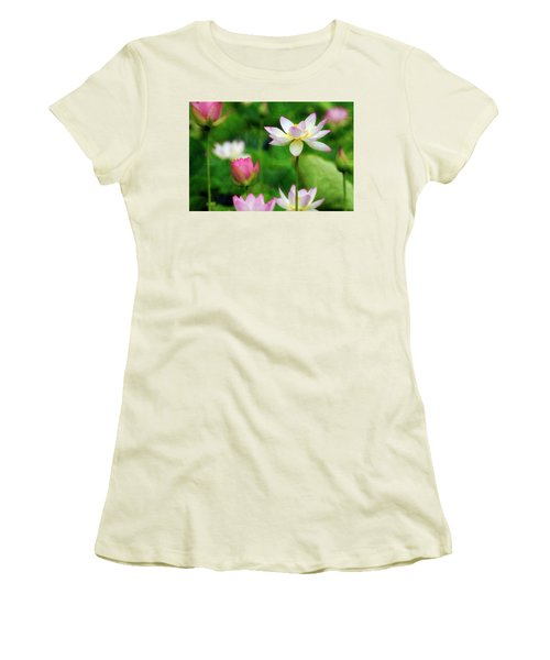 Brushed Lotus Women's T-Shirt (Junior Cut) by Edward Kreis