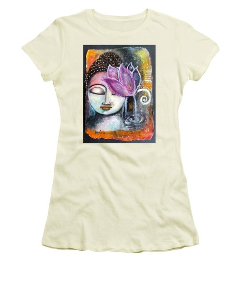 Buddha With Torn Edge Paper Look Women's T-Shirt (Junior Cut) by Prerna Poojara
