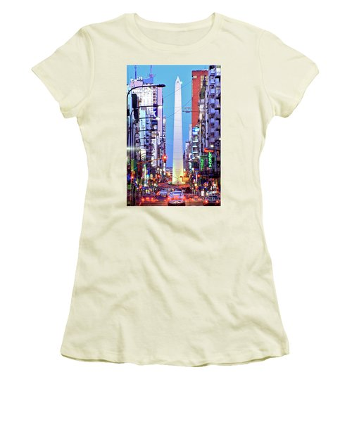 Women's T-Shirt (Junior Cut) featuring the photograph Buenos Aires Obelisk by Bernardo Galmarini