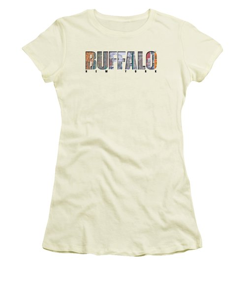 Buffalo Ny Snowy Downtown Women's T-Shirt (Junior Cut) by Michael Frank Jr