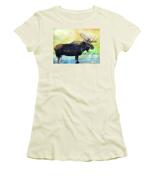 Bull Moose In Mid Stream Women's T-Shirt (Athletic Fit)